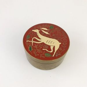 India Brass Canister with Deer Enamel Top Dish VTG